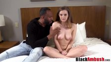 Brunette beauty Devon tricked with interracial creampie